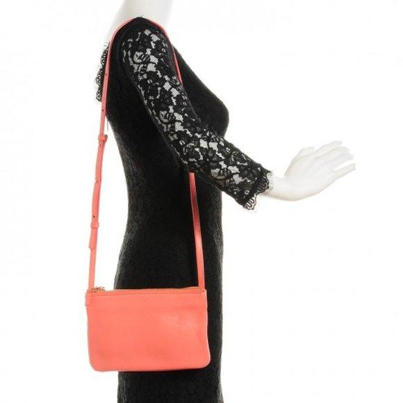 Celine Handbags - NEW CELINE Leather TRIO Crossbody Bag FLAMINGO